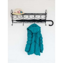 """Wrought iron wall mounted coat,hat and unbrella hanger rack with 4 hooks """"Valeria"""""""